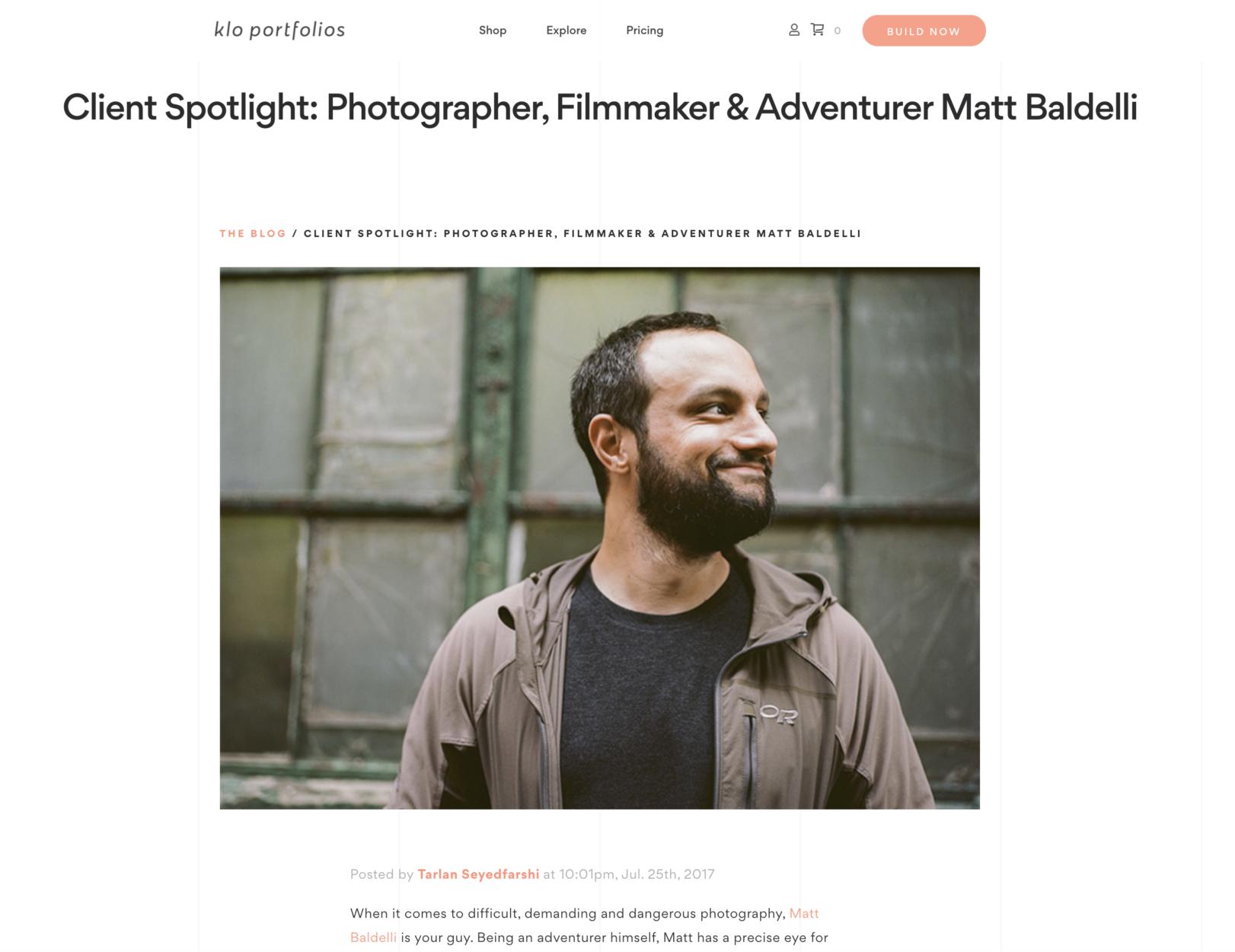 Klo Portfolio's Matt Baldelli Adventure Photographer