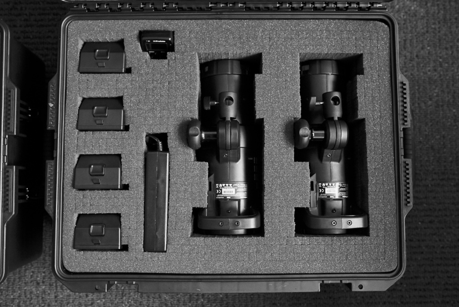 Profoto B1's nestled in a Pelican Storm Case