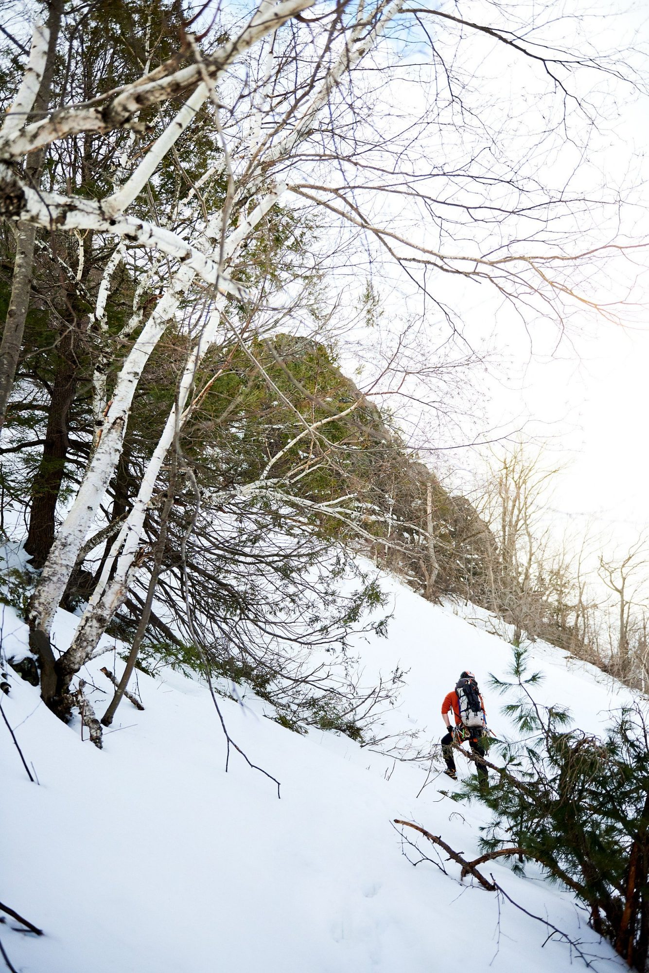 Ice climber checking out the conditions on Mount Tom in Easthampton, Massachusetts
