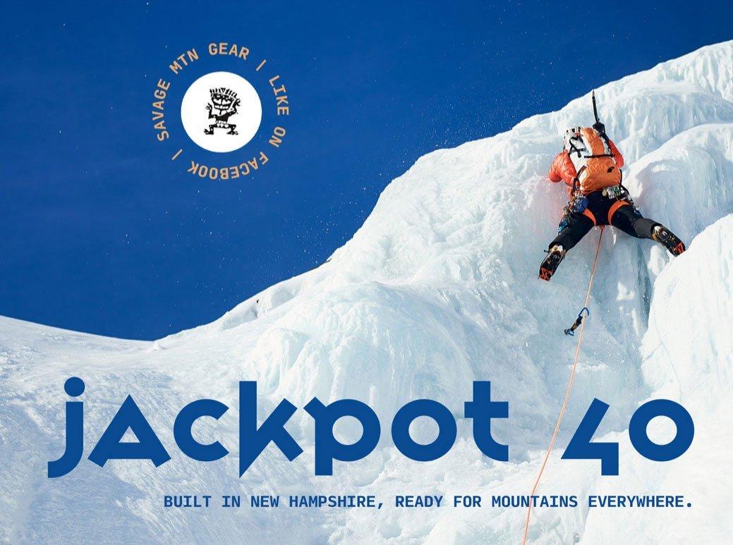 Matty Bowman ice climbing with Savage Mountain Gear's Jackpot 40 in Tuckerman Ravine, White Mountains of New Hampshire.